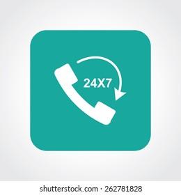 Very Useful Flat Icon of call 24X7. Eps-10.