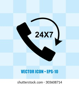 Very Useful Icon Of 24X7 Calling. Eps-10.