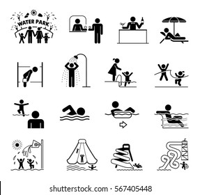Very useful and usable set of icons for aqua parks and swimming pools. Collection of premium quality pictograms for water park providing information, bans and warnings for swimming pool visitors.