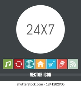 very Useful Vector Icon of 24X7 with Bonus Icons Very Useful For Mobile App, Software & Web