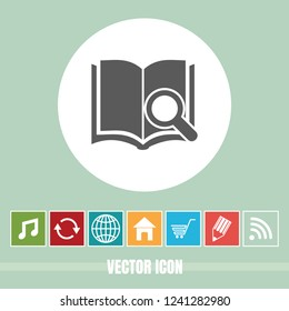 very Useful Vector Icon Of Book Search with Bonus Icons Very Useful For Mobile App, Software