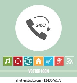 Very Useful Vector Icon Of Call 24X7 with Bonus Icons. Very Useful For Mobile App, Software & Web.