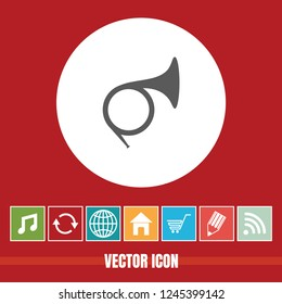 Very Useful Vector Icon Of French Horn with Bonus Icons. Very Useful For Mobile App, Software & Web.