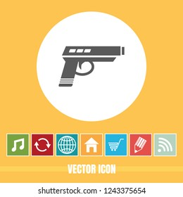 very Useful Vector Icon Of Pistol with Bonus Icons Very Useful For Mobile App, Software & Web