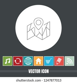 Very Useful Vector Line Icon Of Map Pointer with Bonus Icons. Very Useful For Mobile App, Software & Web.