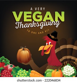 Very Vegan Thanksgiving card EPS 10 vector