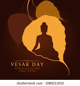 Vesak day banner card with Buddha sign in Bodhi leaf Tree vector design