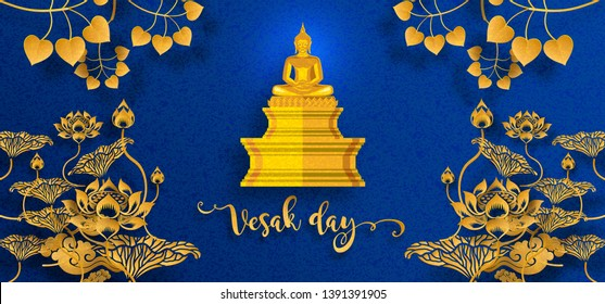 Vesak day banner card with Buddha candle,flower and oriental asian elements with gold paper cut style on red color Background for greetings .