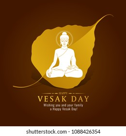 Vesak day banner card with White Buddha sign on gold Bodhi leaf  vector design