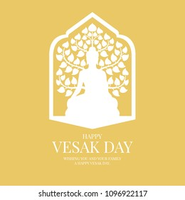 Vesak day banner card with white Buddha and Bodhi Tree sign in window frame on yellow background vector design