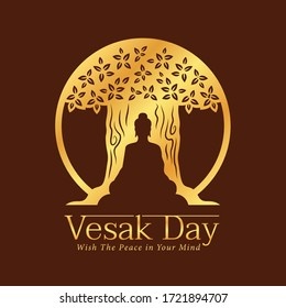 Vesak day banner with gold paper cutting buddha sit under tree on brown background vector design