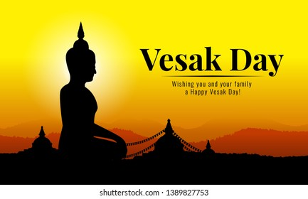 Vesak day banner with Silhouette Big Buddha statue in temple and mountain on yellow orange sky vecto design