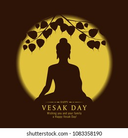 Vesak day banner with Silhouette Buddha sign under Bodhi Tree and yellow full moon vector design