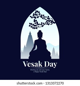 Vesak day banner with Silhouette Buddha statue sign in window view vector design