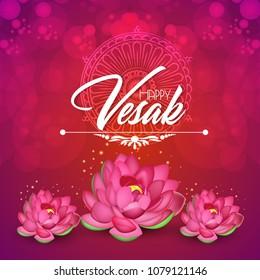 Vesak Day or Buddha Purnima with buddha and lotus illustration