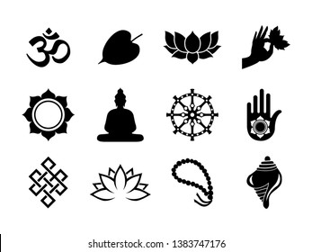 Vesak Day celebration icon set. Black color symbol collection on isolated background. Includes buddha statue, bodhi tree leaf, lotus and more.