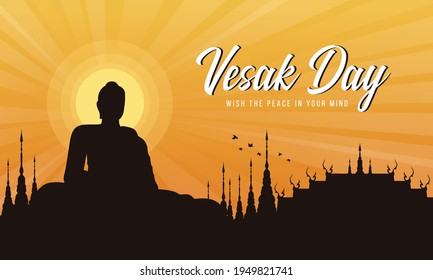 Vesak day with A large meditation statue of the Buddha in the temple and Sunset Evening Sun vector design