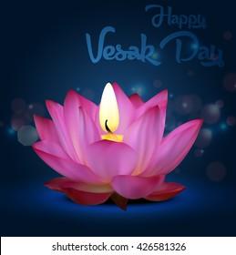 Vesak Day on blue background.Vector
