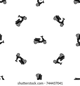Vespa scooter pattern repeat seamless in black color for any design. Vector geometric illustration
