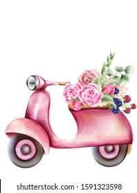 Vespa style pink scooter with flowers in the trunk. Watercolor vector