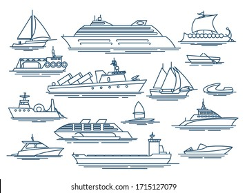 Vessel linear icons. Outline boat and sea ship for vacation traveling or service shipping marine logistic symbols vector set
