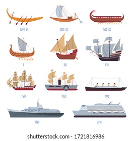 Vessels development by year, isolated collection of boats and ships from ancient times to modern era. Sailboats and yachts evolution, sea or ocean transportation by model. Vector in flat style