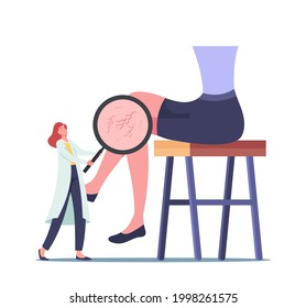 Vessels Inflammation, Health Care Concept. Doctor Character with Magnifying Glass Looking on Patient Foot with Diseased Inflammated Veins. Healthcare, Podiatry. Cartoon People Vector Illustration
