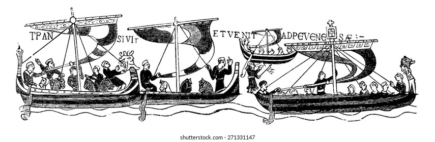 The vessels of William the Conqueror, (After the famous Bayeaux Tapestry), vintage engraved illustration. Journal des Voyage, Travel Journal, (1880-81).