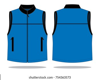 Vest Design Vector with Blue/Black Colors.Front and Back View.