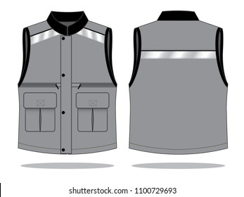 Vest design vector with grey/black colors and gray reflective tape.