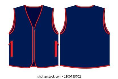 Vest Design Vector : Navy Blue/Red Edging