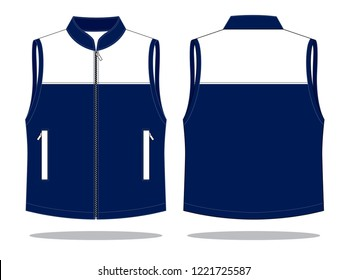 Vest Design Vector With Navy/White Colors.Front & Back Views.