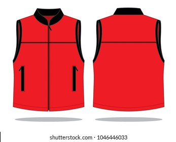 Vest Design Vector With Red/Black Colors.Front and Bsck Views.