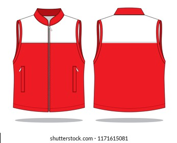 Vest Design Vector with Red/White Colors.Front & Back View.