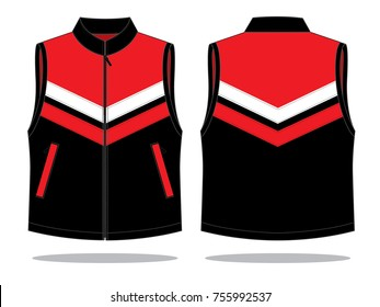 Vest Design Vector with Tree Colors. Front & Back View
