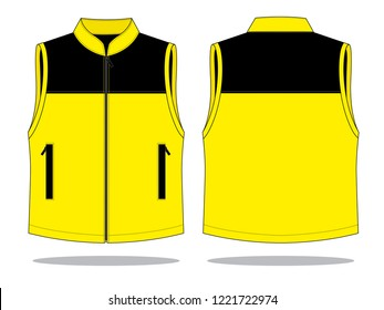 Vest Design Vector (Yellow/Black) : Front & Back View
