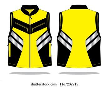 Vest Design Vector (Yellowe/Black) : Front & Back View