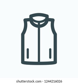 Vest jacket icon, sleeveless vest for outdoor use vector icon