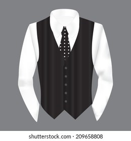 Vest, shirt and  tie in business style, vector illustration