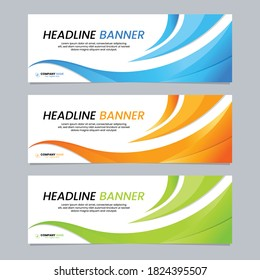 Vestor abstract wave banner design template. Modern and minimalist banner design for advertising, education, corporate business, header, footer, background, backdrop, landing page.