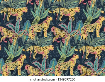 Vestor seamless pattern with jaguars, tropical leaves and plants. Colorful endless trendy background