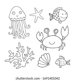 Vestor set of the cute marine animals: jellyfish, crab, sea star, shell, fish, coral. Cute drawing perfect for coloring book or page for kids and adults.
