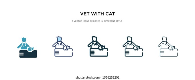 vet with cat icon in different style vector illustration. two colored and black vet with cat vector icons designed in filled, outline, line and stroke style can be used for web, mobile, ui