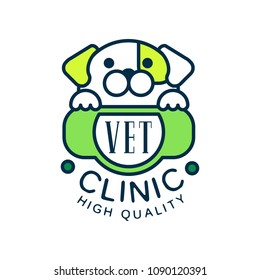 Vet clinic, high quality logo template design, green badge for company identity, label for pet clinic and animal shelter vector Illustration on a white background