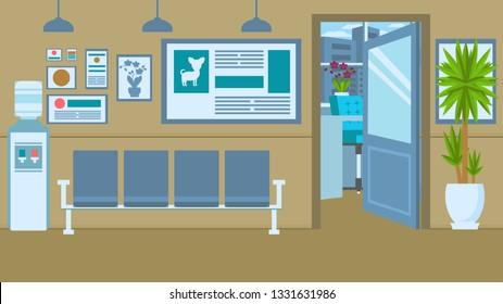 Vet Clinic Interior Flat Vector Color Illustration. Animal Hospital Waiting Room Decor. Cartoon Chairs, Water Dispenser. Veterinary Emergency Service. Pet Care Center. Open Door Vet Doctor Office