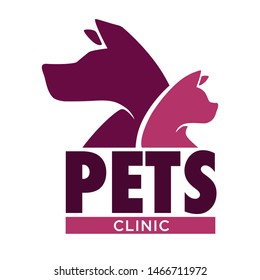 Vet clinic pets health isolated icon dog and cat isolated icon vector domestic animal care medicine and healthcare mammals emblem, or logo veterinarian hospital help or aid symbol medical cross