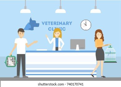 Vet clinic reception with patient, manager and animals.