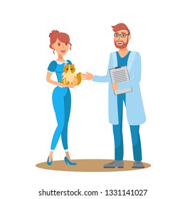 Vet Consultation Flat Vector Color Illustration. Woman with Purse Dog Talk to Veterinarian. Dog Owner, Veterinary Doctor and Pet Cartoon Character. Animal Care service. Color Isolated Design Element