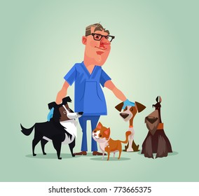 Vet doctor character with cats and dogs. Vector cartoon illustration