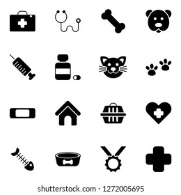 Vet icons pack. Simple veterinary medicine icons collection.